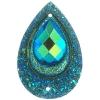 Resin Sew-on Peacock Stones 10pcs 20x30mm Drop Emerald Aurora Borealis